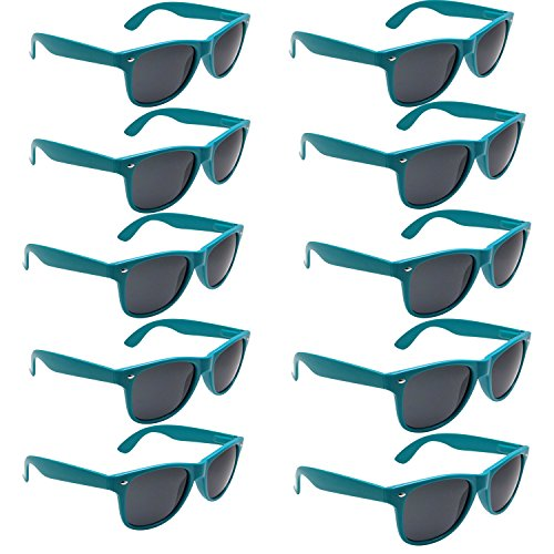 grinderPUNCH Classic Sunglasses 10 Bulk Pack Lot Neon Color Party Glasses (Teal, - In Sunglasses Sale Bulk For