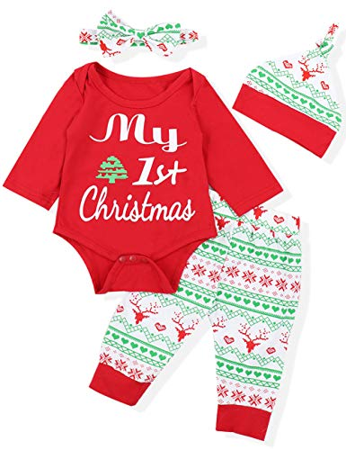 Yiner Baby Girls Boys Clothes 4pcs Outfits Long Sleeve T-Shirt Romper+Long Pants+Hat+Headband Set