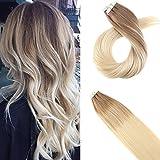 Moresoo 20inch Blonde Hair Extensions Real Human Hair Tape in Hair 20pcs/50g Remy Hair Extensions Glue in Balayage #6 Brown to Blonde #60 Seamless Skin Weft Human Hair Extensions Glue on Hair Review