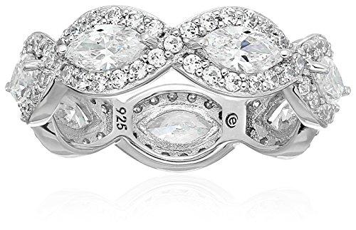 Platinum Plated Sterling Silver Swarovski Zirconia Marquise Halo Eternity Band Ring, Size 7 - Platinum Eternity Ring