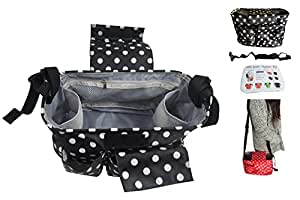 Orient Home Baby Stroller Organizer for Moms, Universal Fit Baby Pram Hanging Storage Bag for Diapers Toys Wallets Water and iphones-Black