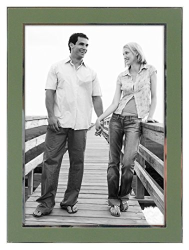- Malden International Designs Sage Green Sleek With Silver Inside Border Picture Frame, 5x7, Green