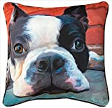 Manual Moxley Boston Terrier Paws and Whiskers Decorative Square Pillow, 18-Inch