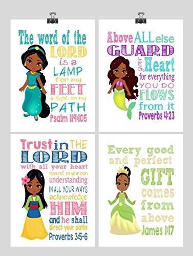 African American Princess Set of 4 - Christian Nursery Decor Wall Art Print - Ariel, Jasmine, Tiana, Mulan - Bible Verse - Multiple Sizes by Pixie Paper