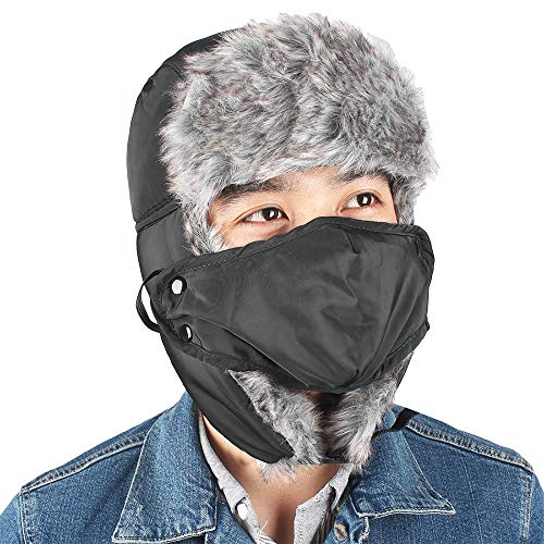KRATARC Trapper Hat Hunting Winter Ski Windproof Hat with Ear Flaps and Warm Mask for Men Unisex ()