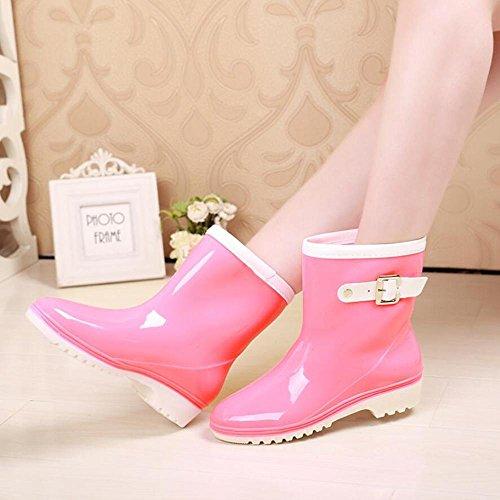 La Sra. Tubo jelly rain boots / use botas de lluvia impermeables / zapatos overshoes pink