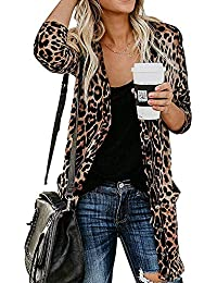 Women's Leopard Printed Cardigans Shirt Lightweight Button Down Cardigans Coat W Pockets(S-2XL)