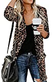Shirt Cardigan for Women Printed Cardigan Leopard Coat Long Sleeve Open Front Cardigan Top w Pockets Brown: more info