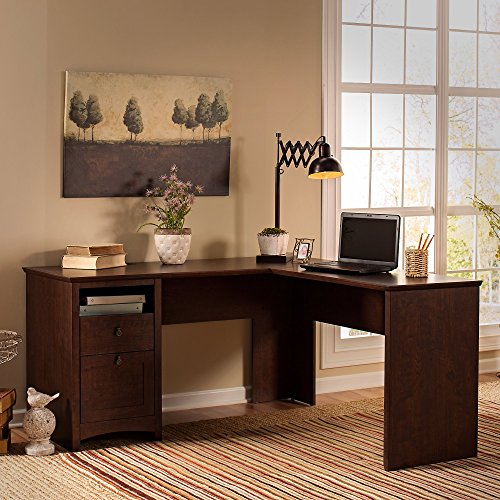 Buena Vista 60W L Shaped Desk in Madison Cherry by Bush Furniture