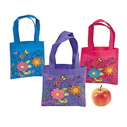 3 ~ Mini Flower Tote Bags / Gift Bags ~ Approx. 6