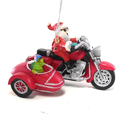 Cape Shore Santa on a Motorcycle, Turtle in Side Car Hanging - On Motorcycle Santa