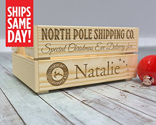 Christmas Eve Box, Christmas Box, Christmas Eve Crate, Kids Crate, Xmas Eve, Gift from Santa, Personalized, Santa Surprise -CR12 from Canoe Baby Crafts