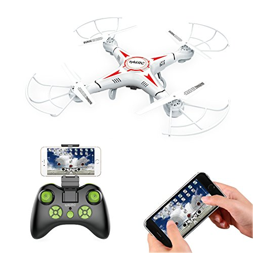 sykii RC Drone with 720P HD Camera Live Video 2.4G 4CH 6Axis Gyro RTF RC Quadcopter WIFI FPV Helicopter Drones Toy Headless Altitude Hold Easy to Fly for Beginner(APP and Remote control included)