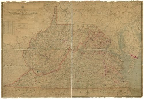 1906 Map Post route map of the states of
