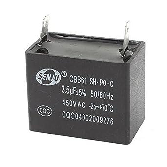 3.5uF 450V AC 5% 2pins película del polipropileno CBB61 Condensador de funcionamiento del Motor: Amazon.com: Industrial & Scientific