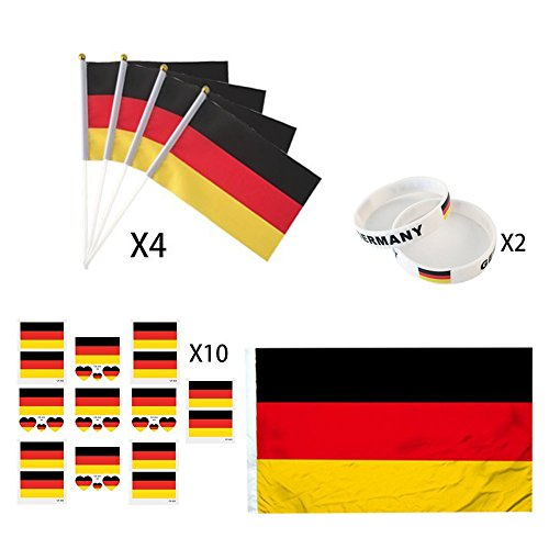 - KingShark World Cup 2018 Set, Football Suit Fans Scarf, Germany, Hand Held Flags, Big National Flag, Tattoo Stickers, Silicone Wristbands, Party Club Bar Decorations Festival Celebration