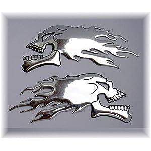 Paire de stickers skull chrome flamme reservoir