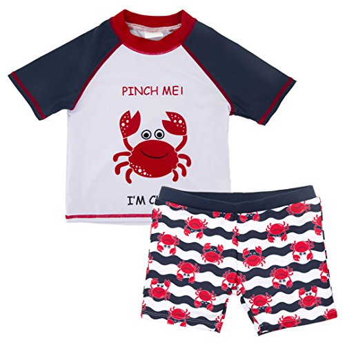 kavkas Baby Toddler Boy Swim Set Kid Swimsuit Boy Two Pieces Swimwear Rash Guard Sun Protection Swim Shirt(Crab, 3T)