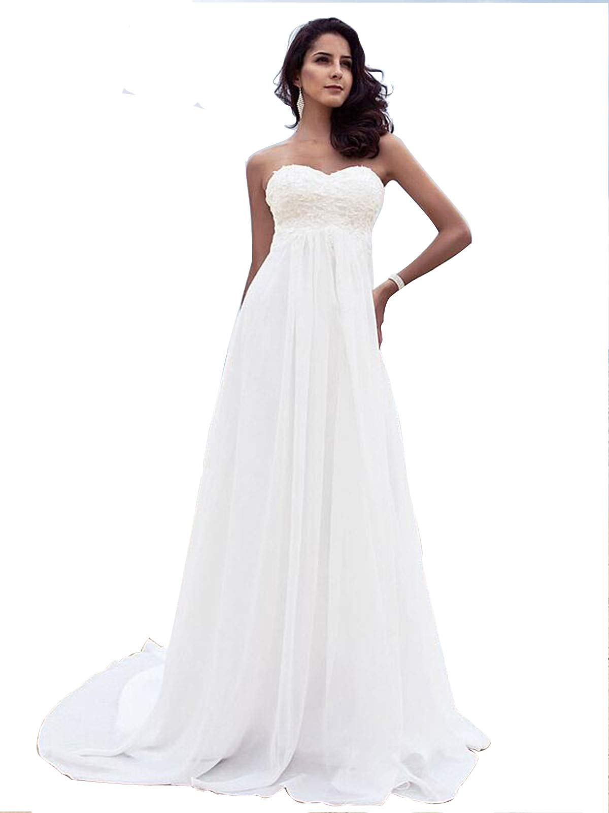 Beach Wedding Dress Plus Size for Woman Long Sweetheart Wedding Dresses  Lace Pearls Rhinestones Bride Gowns 2019