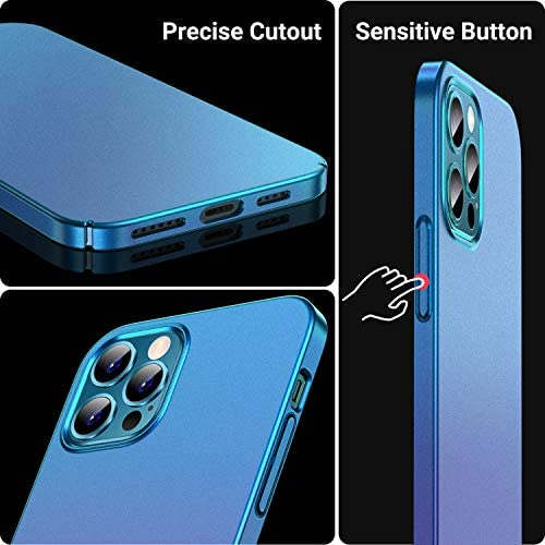 CASEKOO Slim Fit Compatible with iPhone 12 Pro Max Case, Ultra Thin Hard Plastic Protective Phone Case Cover with Matte Finish Coating Cases 6.7 inch, Metallic Blue