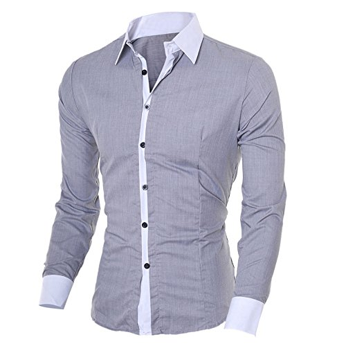 1 Sleves Fit Camicie Maniche l Lunghe Moda Shirts Slim Long Landfox Grigio Men Uomo Causal Bianca ZUqvfwvxa