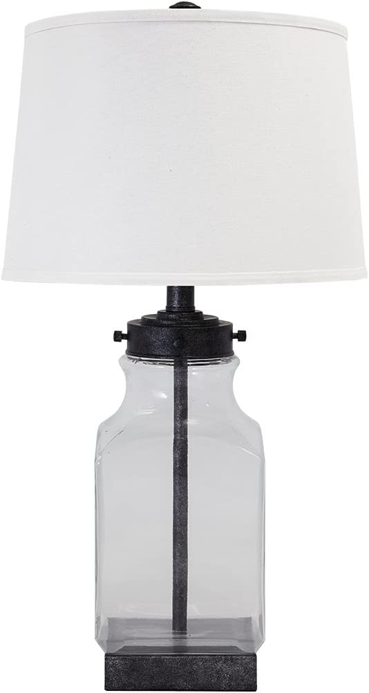 Signature Design by Ashley - Sharolyn Glass Table Lamp - Smoky Glass - Silver Accents - Clear