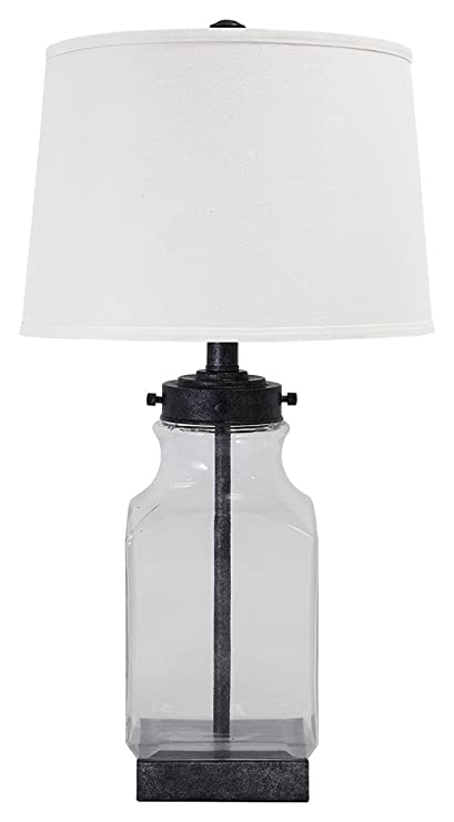 Amazon ashley furniture signature design sharolyn ashley furniture signature design sharolyn transparent glass table lamp smoky glass silver aloadofball Gallery