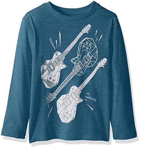 The Children's Place Baby Boys Long Sleeve Graphic Tees, Sample/dye Teal Tides XS (4) Boys Long Sleeve Guitar