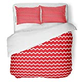 red and white chevron quilt - SanChic Duvet Cover Set Colorful Zigzag Chevron Pattern Red and White Jagged Decorative Bedding Set with 2 Pillow Shams King Size