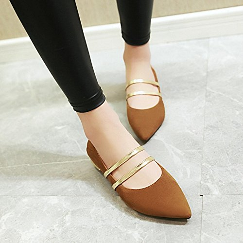 SJJH Marry Jane Shoes with Pointed Toe and Fashion Flats for Cute Women Brown 4lMY7