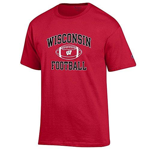Elite Fan Shop NCAA Men's Wisconsin Badgers Team Color Football T-shirt Wisconsin Badgers Cardinal X -