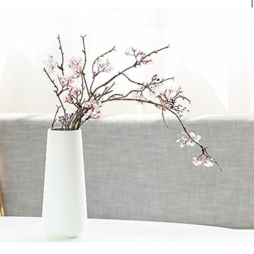 Scandinavian Style Home Garden Office Ceramic Flower Vase Flower Pot For Home Decor Living Room Office And Centerpiecesn (White)