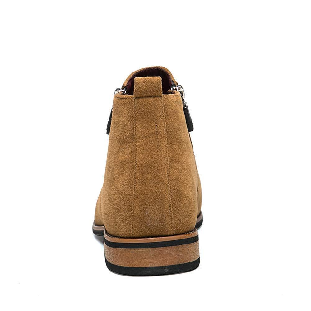 Fuxitoggo Herren Flache Ferse Stiefeletten Seitlichem Reißverschluss Dekoration Wildleder Vamp  Solid Farbe Schuhe (Farbe   Vamp Braun, Größe   39 EU) (Farbe   Braun, Größe   41 EU) a09c6e