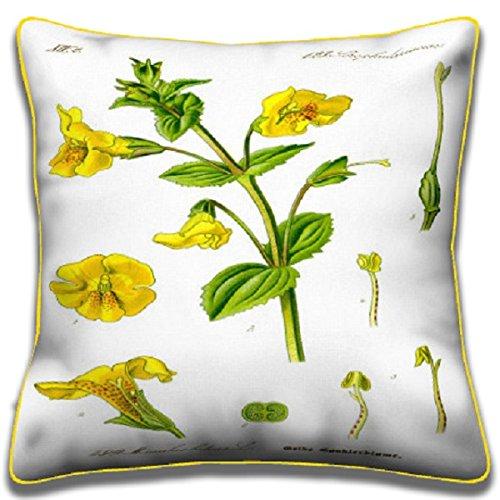 Yellow Monkey Flower - Botanical Pillows (Monkey Upholstery Fabric)