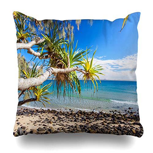 Ahawoso Throw Pillow Cover Coastline Blue Australia Noosa Park On Queenslands Sunshine Green Nature Coast Beach Australian Bay Decorative Pillow Case 18x18 Inches Square Home Decor ()