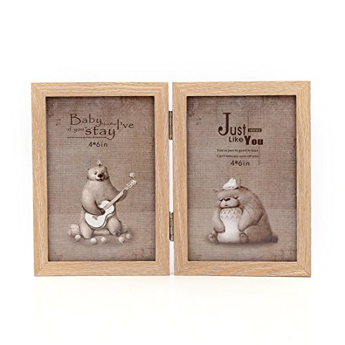 4x6 Inches Hinged Foldable Double Openings Desktop Picture Frame with Glass Front (4x6, Wood Color)