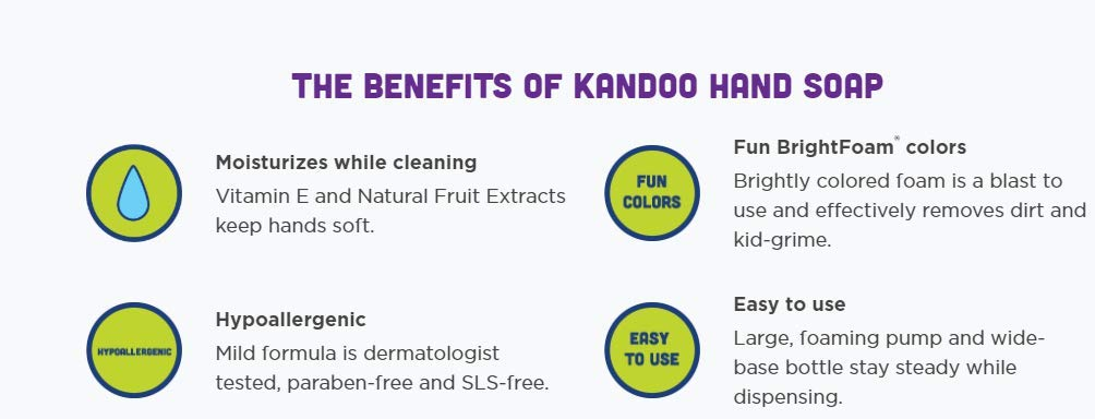 Hand Soap for Kids, Magic Melon Scent by Kandoo, Brightfoam Moisturizing Colored Foaming Soap with Vitamin E, Lets kidsknow When They are Covered, 8 oz, Pack of 4 by Kandoo
