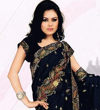Blue Designer Cocktail Bollywood Sari Dress India Saree