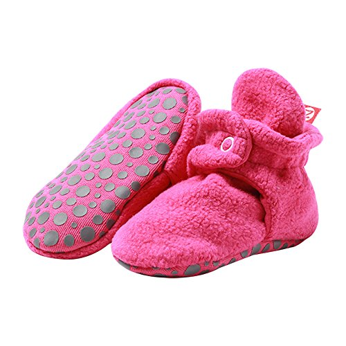 (Zutano Boys' Cozie Fleece Baby Booties with Grippers, fuchsia, 18M (12-18 Months))