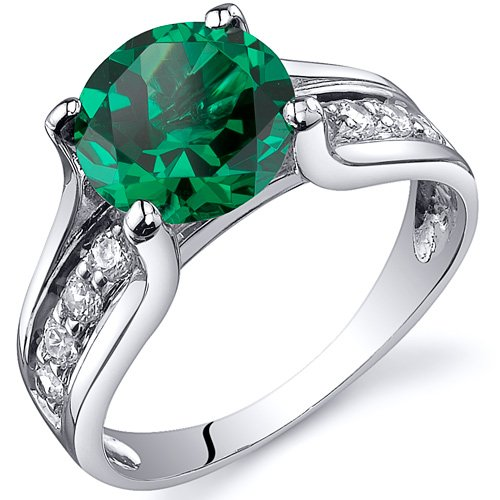 Revoni Solitaire Style 1.75 carats Emerald Ring in Sterling Silver Rhodium...