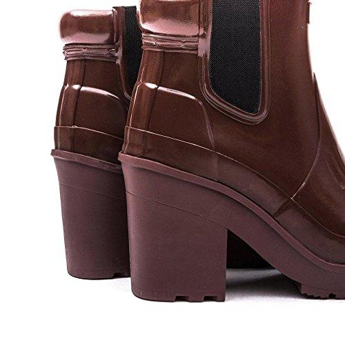 Damen Hunter Original Block Heel Chelsea Gloss Winter Stiefeletten Umbra