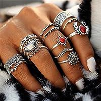 Naladoo 14pcs/Set Women Bohemian Vintage Silver Stack Rings Above Knuckle Blue Rings Set
