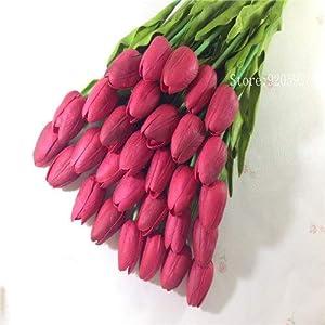 Samy Best 31PCS/LOT pu Mini Tulip Flower Real Touch Wedding Flower Bouquet Artificial Silk Flowers 92