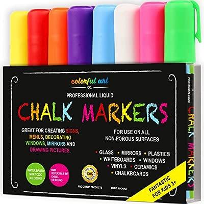 Lote de 8 rotuladores de tiza líquida Colorful Art Professional, ideal para niños, para pizarras no porosas, cristales y ventanas, tinta borrable, con ...