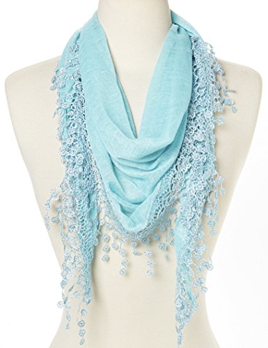 Flower Lace Silk-blend Scarf / Knit Oblong Cotton Scarf (L Blue)