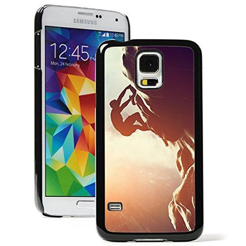 Sun Climber (For Samsung Galaxy S5 Mini Hard Back Case Cover Rock Climber Climbing Sunset (Black))