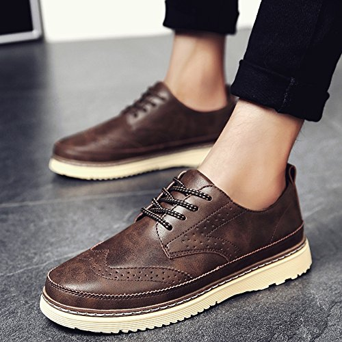 Men's Shoes Feifei Winter Fashion Casual Retro Leather Shoes 3 Colors (Color : 01, Size : EU39/UK6.5/CN40)