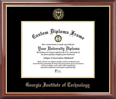 Georgia Tech Yellow Jackets Seal (Georgia Inst. of Technology Yellow Jackets - Embossed Seal - Mahogany Gold Trim - Diploma Frame)
