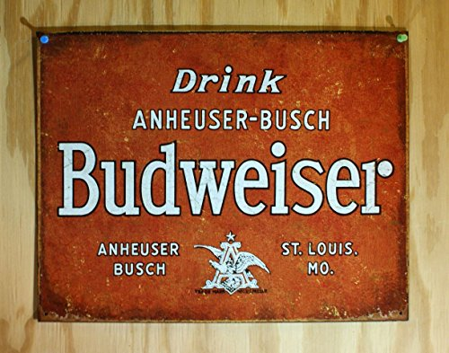Budweiser   Drink Tin Sign 16 X 13In
