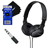 Sony MDRZX110 ZX Series Stereo Headphones (Black) with 3.5mm Mini Plug to 1/4 inch Headphone Adapter & HeroFiber Ultra Gentle Cleaning Cloth